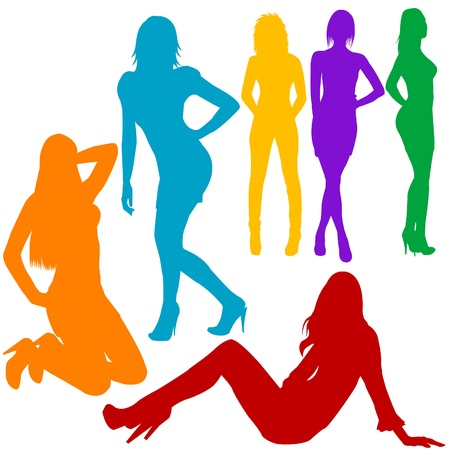 sexy business woman: Sexy women hand drawn silhouettes