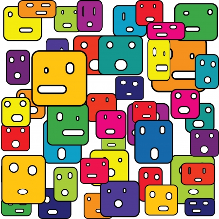 originality: Abstract squares with facial expressions Illustration