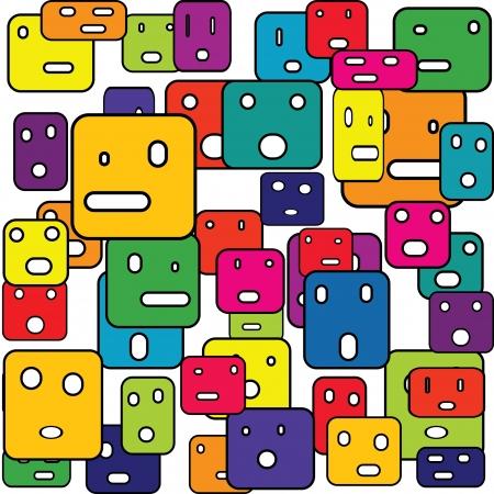 originalidad: Cuadros abstractos con expresiones faciales Vectores
