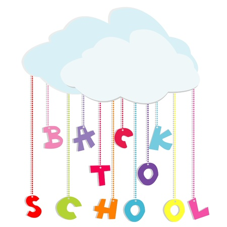 Back to school illustration with colored letters and clouds Vector