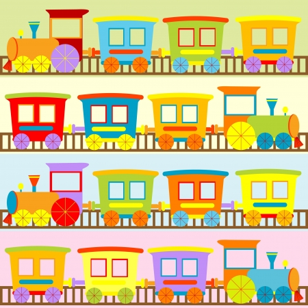 Cartoon trains backgrounds for kids Vector
