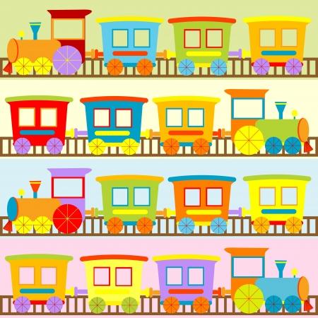 tren caricatura: Trenes de dibujos animados fondos para los niños Vectores