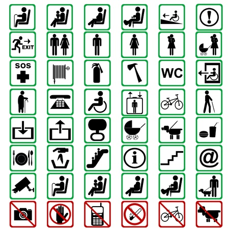 exit emergency sign: International signs used in tranportation means