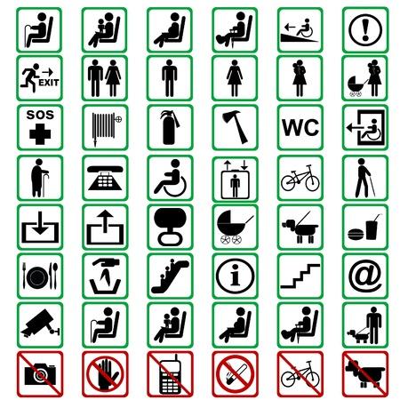 interdiction: Signes internationaux utilis�s dans les moyens tranportation Illustration