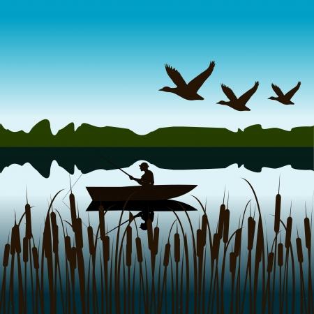 Paisaje con el pescador en un bote