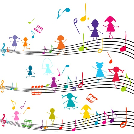 Music note with kids playing with the musical notes Vector