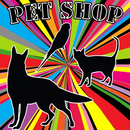 Pet shop advertising with pets silhouettes Vector