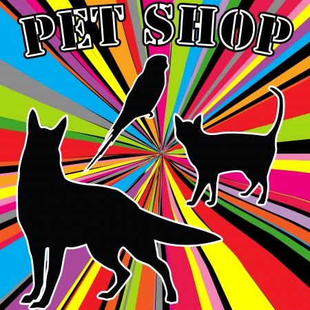 tienda de animales: Publicidad tienda de mascotas con siluetas de animales dom�sticos