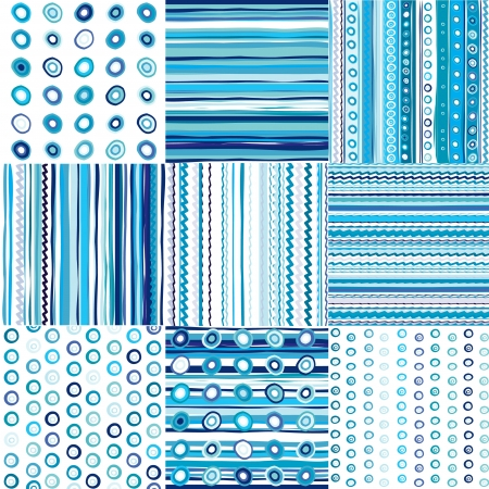 cute baby boy: Set of blue seamless pattern for baby boys