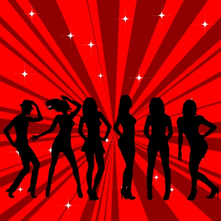 dancing silhouette: Beautiful and sexy girl silhouettes dancing