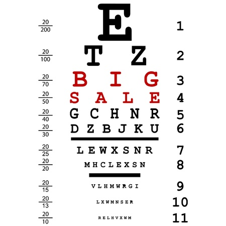 eyesight: Big sale advertising with optical eye test used by doctors Illustration