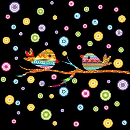 v�gelchen: Karte mit zwei V�geln auf schwarzem Hintergrund
