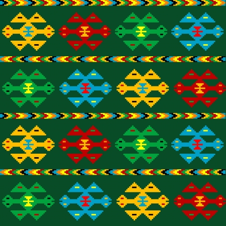 bosnia: Green carpet with ethnic motifs Illustration