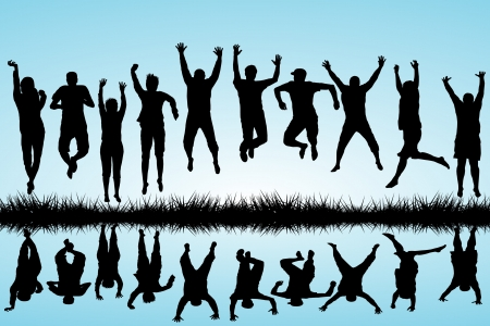 Grupa młodych ludzi skaczących