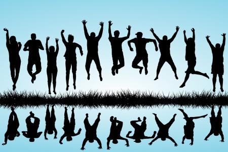 salti: Gruppo di giovani che saltano Vettoriali