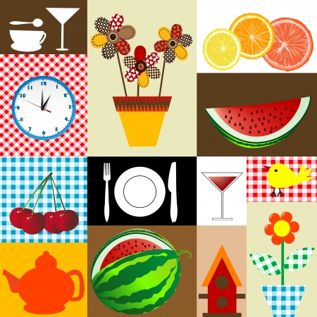 canteen: Kitchen table cloth design Illustration