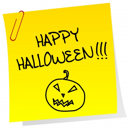 halloween message: Sheet of paper with Happy Halloween message