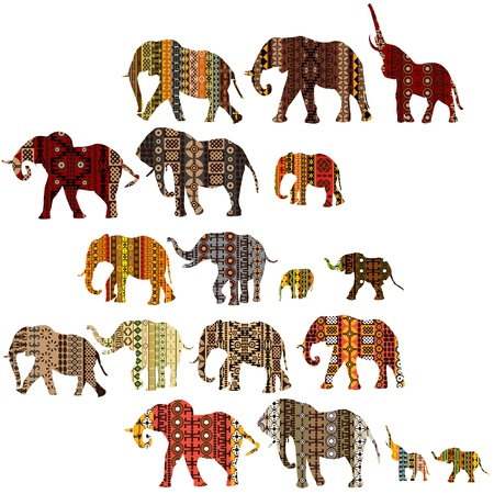 Set of patterned elephants in ethnic style Illustration