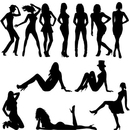 mujeres desnudas: Conjunto de siluetas de mujeres sexy Vectores