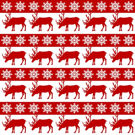 christmas wrapping: Winter design with reindeer and snowflackes