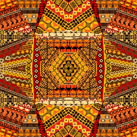 arte africano: Motivos collage africano de materias textiles patchworks