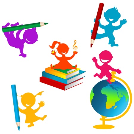 Back to school background with children and books Stock Vector - 15804823