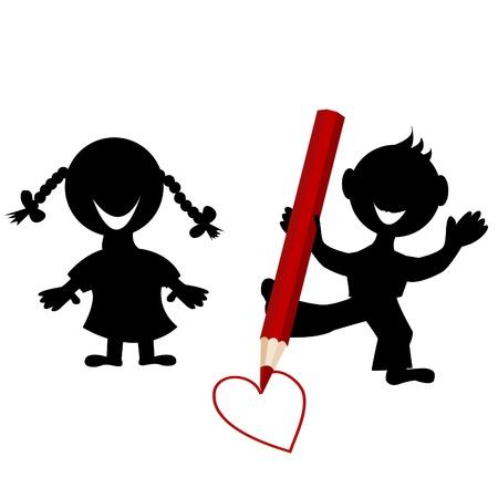 enamorados caricatura: Fondo con las siluetas de los ni�os de dibujo un coraz�n Vectores