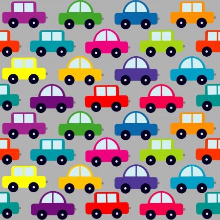 Seamless pattern with cartoon cars Illustration