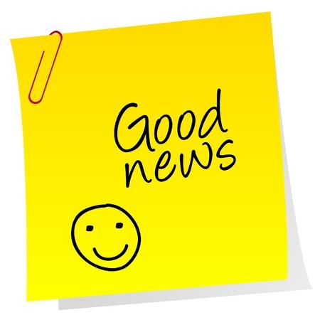 Hoja de papel con el texto Buenas noticias