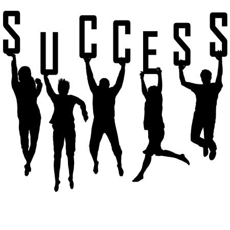 Success concept d'équipe avec des silhouettes de jeunes