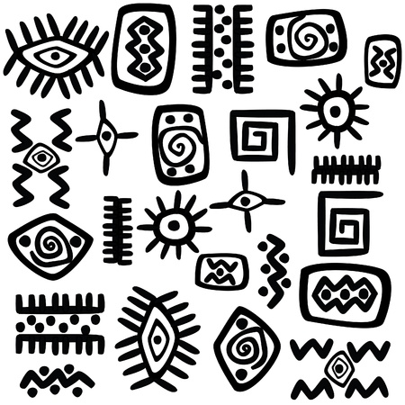 Background with African motifs over white background