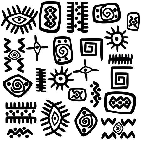 Hintergrund mit afrikanischen Motiven auf weißem Hintergrund