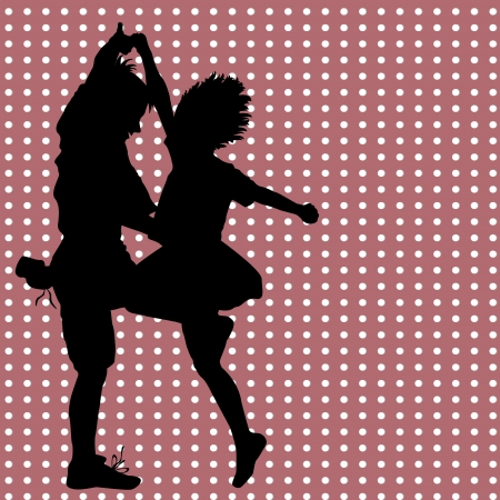 salsa dancer: Card with a dancing couple Illustration