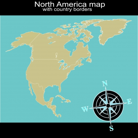 central america: North America map with country borders