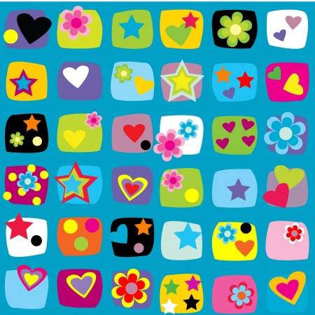 Seamless pattern with stars, flowers and hearts Stock Vector - 16583872