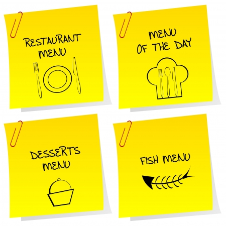 Sheets of paper with restaurant messages Stock Vector - 16583882