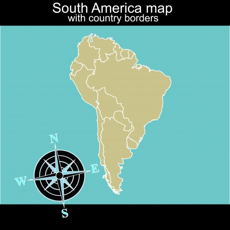 contry: South America map with contry borders Illustration
