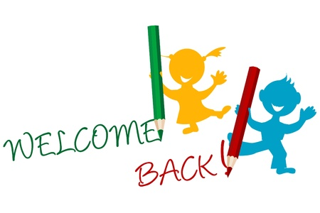 woman standing back: Welcome back announcement writting by kids