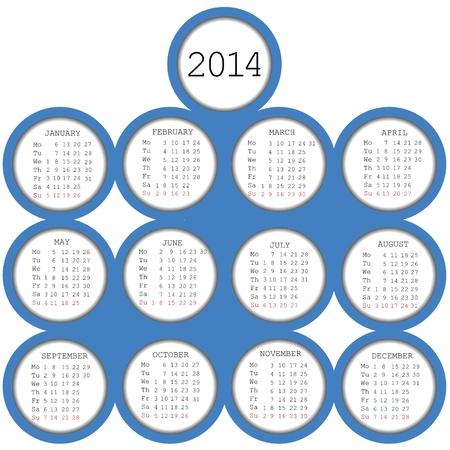 2014 calendar with blue circles Stock Vector - 16788274