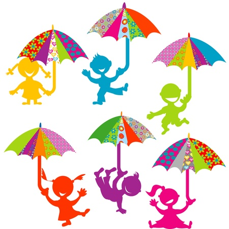 Background with kids playing with colored umbrellas Vector