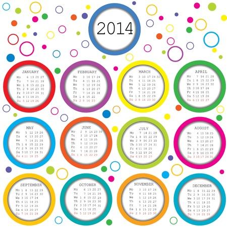 Gekleurde cirkels 2014 Kalender voor kinderen