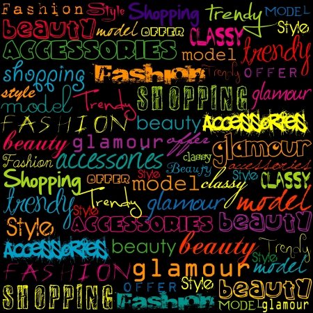 catwalk: Colored typoghraphy with fashion words
