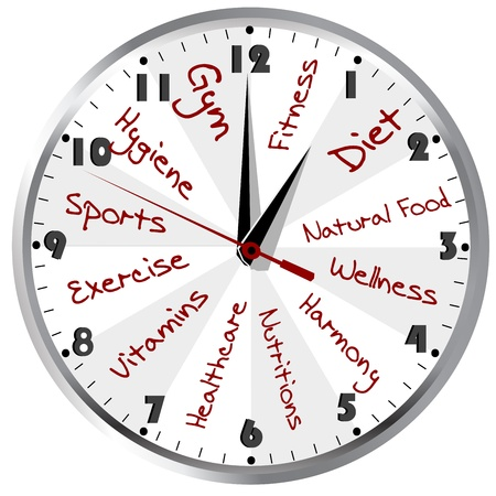 Konzeptionelle Uhr für ein gesundes Leben