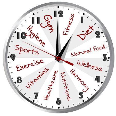 dieta sana: Reloj conceptual para una vida saludable