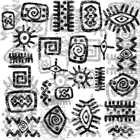 Grunge African symbols background Illustration