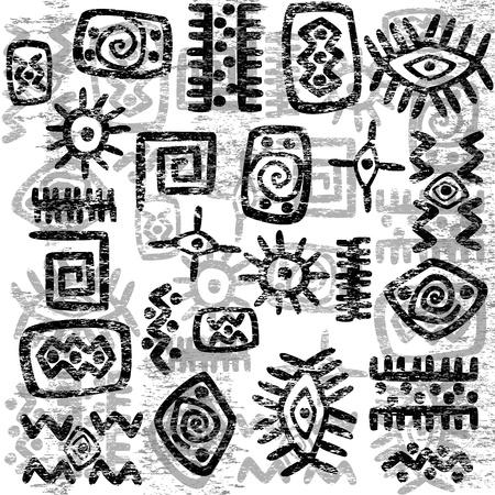 Grunge afrikanischen Symbole Hintergrund