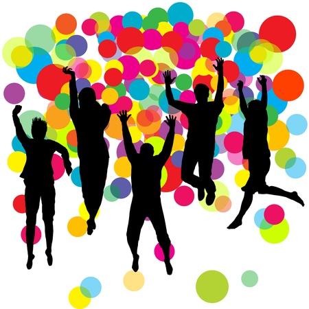 ahogarse: Felices los niños y las niñas saltando sobre fondo bolas de colores