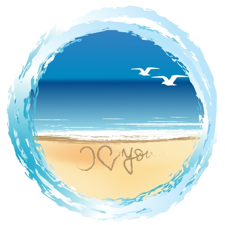 blue you: Illustration with I love you drawn on the beach shore