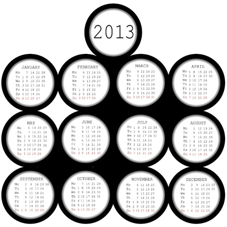 julie: 2013 black circles calendar for office Illustration