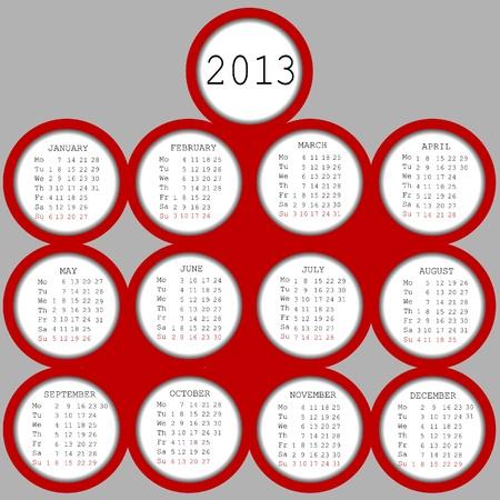 2013 red circles calendar Stock Vector - 17311058